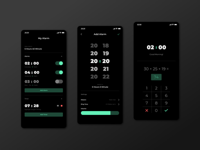 #Exploration   My Alarm App alarm app dark ui icon app flat minimal ux ui design