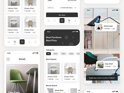 #Exploration   Furniture AR App furniture app augmentedreality mobile app app flat minimal ux ui design