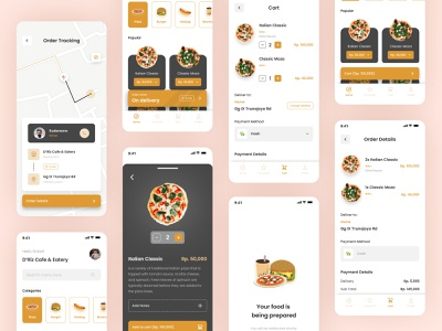 Food Delivery App mobile pizza food delivery food flat app minimal design ux ui