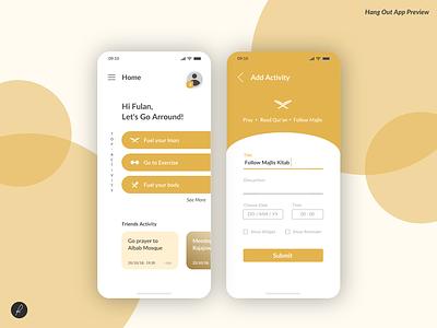 Hang Out App Preview flat ux ui app design