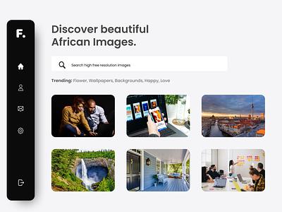 Finderly - Discover African Images black and white black website design web design ux figma ui