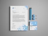 Stationery Design [ Shattered Blue Triangle ]