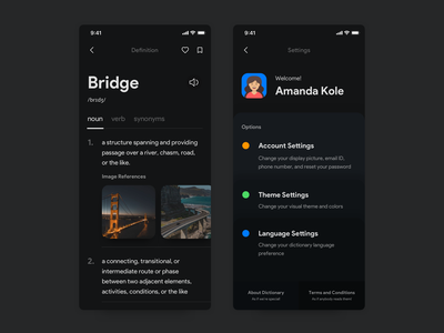 Dictionary App - Details and Profile user experience user interface ux ui typography mobile ui minimalistic material ui interaction design interface illustration apple ui design dictionary ui dark ui dark mode app design