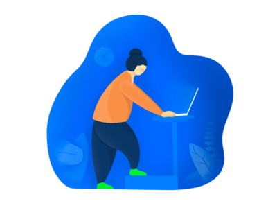 Work from home ipad procreate work from home blue character flat illustration illustration illustrations