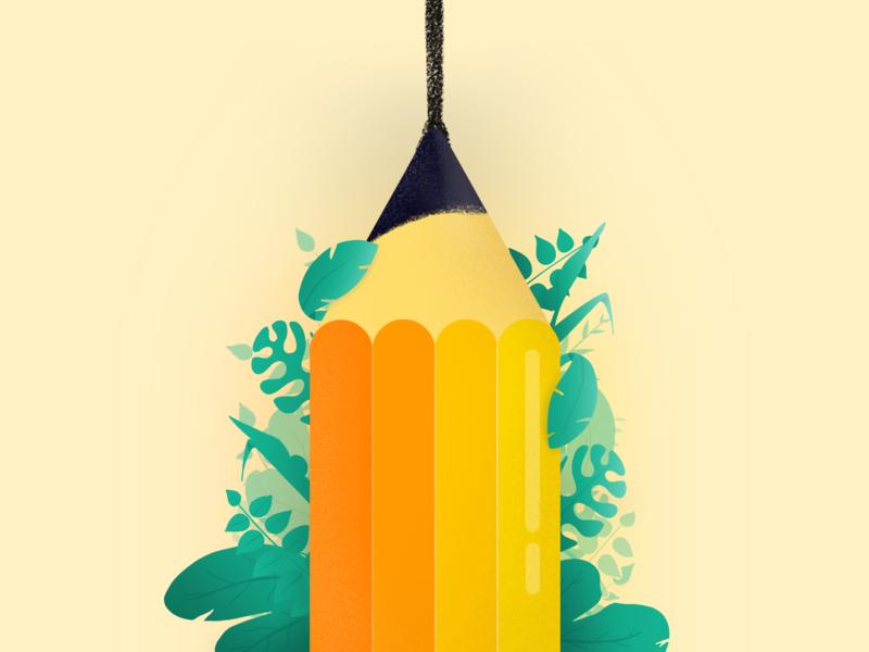 Pencil Illustration ipadpro procreate icon branding design vector illustration minimal