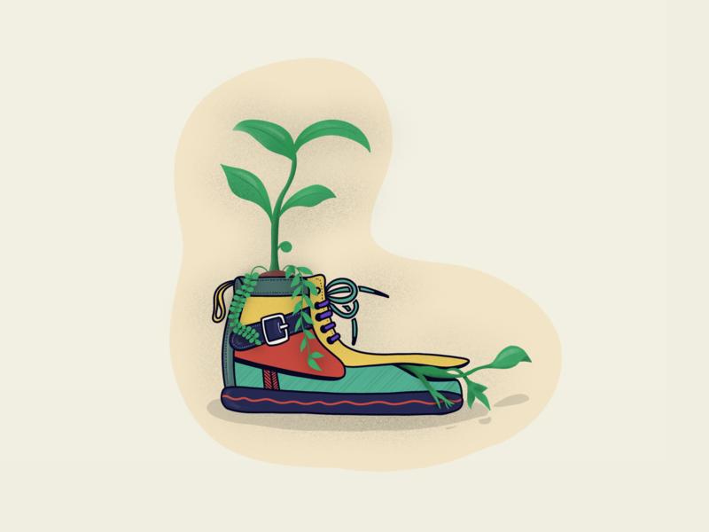 Shoe Plant colors shoes plants vector illustration