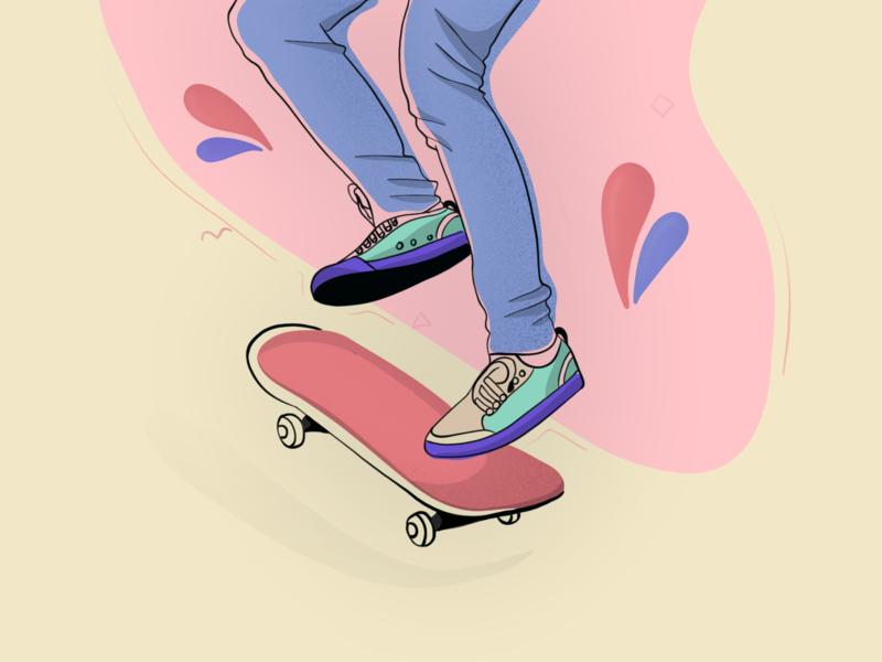 Skateboarding shoes colors skateboard vector illustration