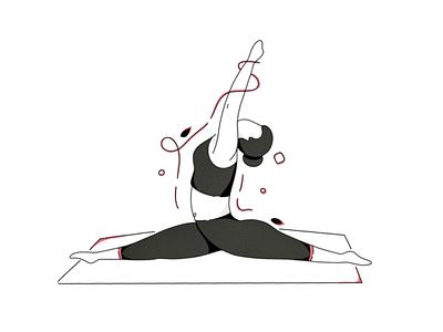 Stretch ipadproart procreate minimal vector yoga exercise lineart line illustration