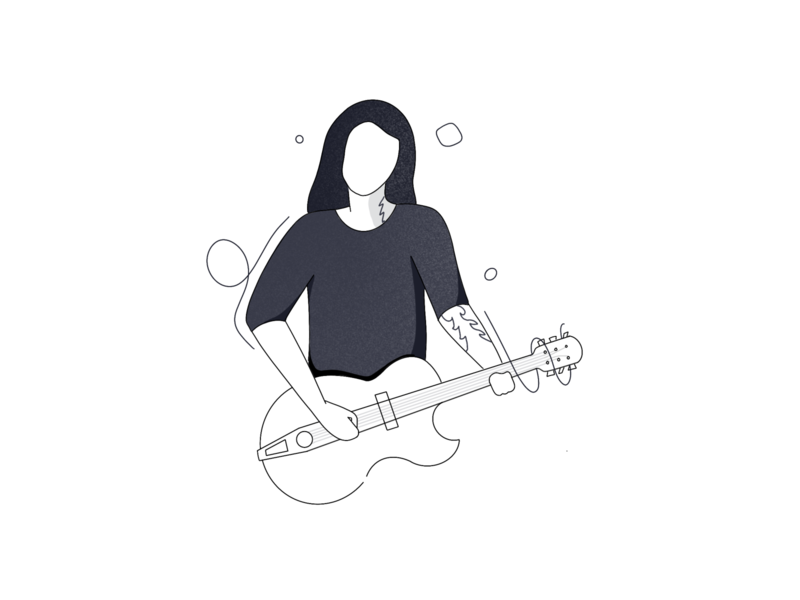 The guitarist ui minimal onboarding guitar black and white procreate illustration line art line vector