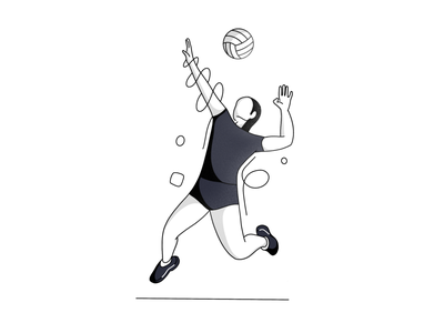 Volleyball flat branding volleyball black and white lines line art daily ui onboarding ui onboarding olympic games minimal design illustration vector