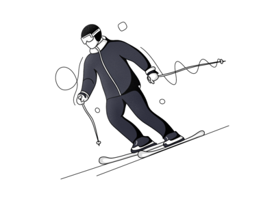Skiing skiing olympic games lineart black and white vector freebie ux ios android illustration app design minimal ui