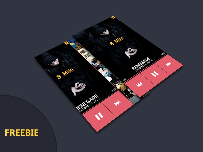 Free Mobile Player PSD free mobile app ui android iphone flat design
