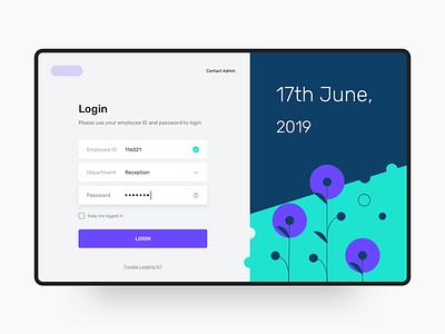 Hotel Management Dashboard - Login typography product design web design web-ui blue vector illustration user experience dashboard design minimal ux ui