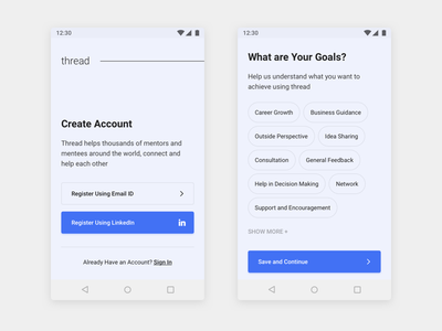 Thread - Android App Design - 2 wireframes dashboard material android freebie ios app design minimal ux ui