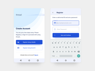 Thread - Android App Design - 6 form form design form ui ux ui typography sketch mobile minimal material ui interface illustration flat design onboarding app android