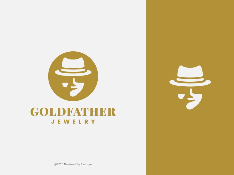 GoldFathers Jewelry mafia gold hat jewelry silhouette negativespace illustration brand logo mark unique logo design dribbble branding logo