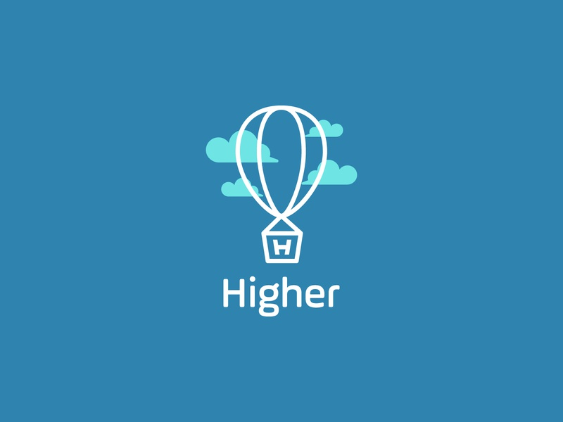 Higher Logo Concept brand identity fly lettet h marijuana balloon vector brand logo mark logodesign unique logo dribbble design branding logo