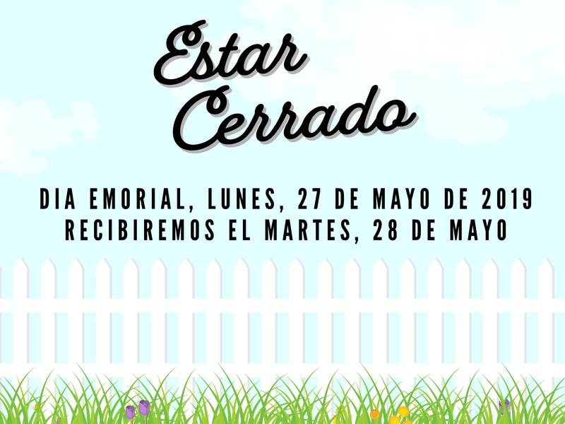 Memorial Day Closed Signage illustration clounds bluesky flowers cerrado fence picketfence spanish signage closed