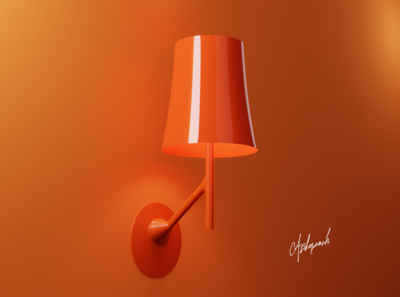 Modern Wall Lamp colours branding flat design minimal brand orange blendercycles mockup design photorealism animation lamp product design 3dproduct blender3d blender