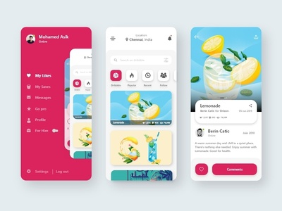 Dribbble App dribbble red minimal interface concept clean design adobe xd flat app design android ios ux ui