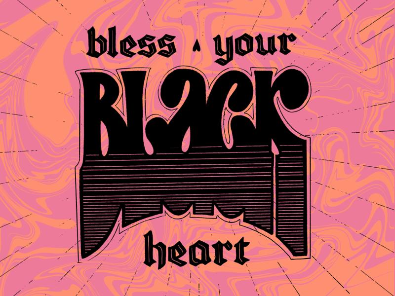 Black Heart black letter orange black pink retro lettering hand-lettering