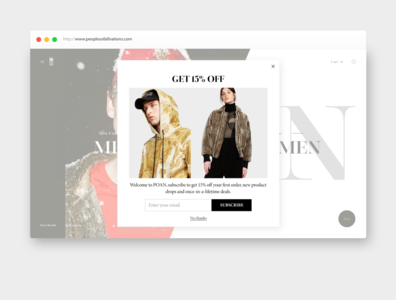 popup window design for luxury fashion brand