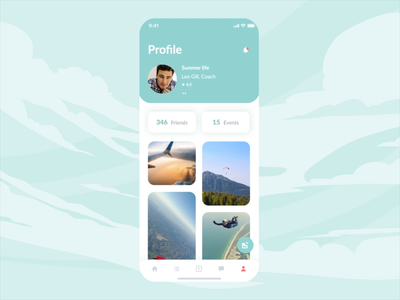 Skydiving mobile app | Profile design