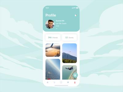 Skydiving mobile app | Profile design