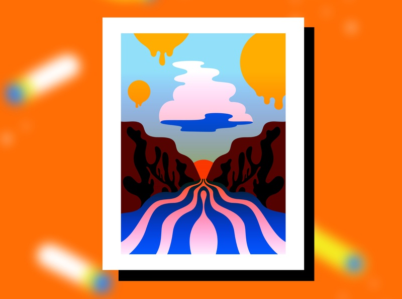 A cloud mountains desert mojave western illustration