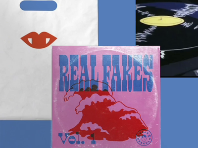 Real Fakes Volumes 1-3 overprint illustration surf vinyl record covers branding design
