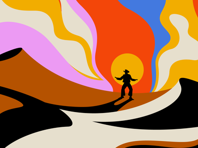 Lost Desert western cocaine rodeo desert lost cowboy vector honky tonk illustration