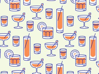Shrub District cocktails glassware illustration