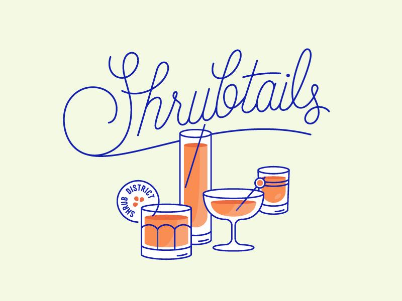 Shrubtails cocktails line art glassware bottles package design drinks branding