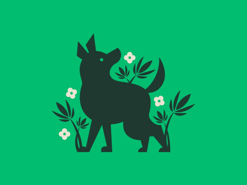 Doggo Logo herbs flowers weed dog logo illustration