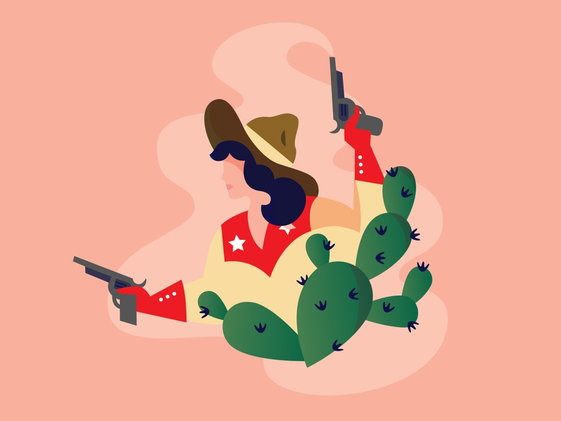 The Duel spot illustration illo western cowgirl