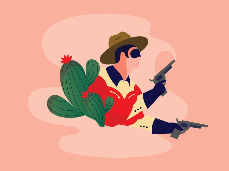 The Duel spot illustration western cowboy
