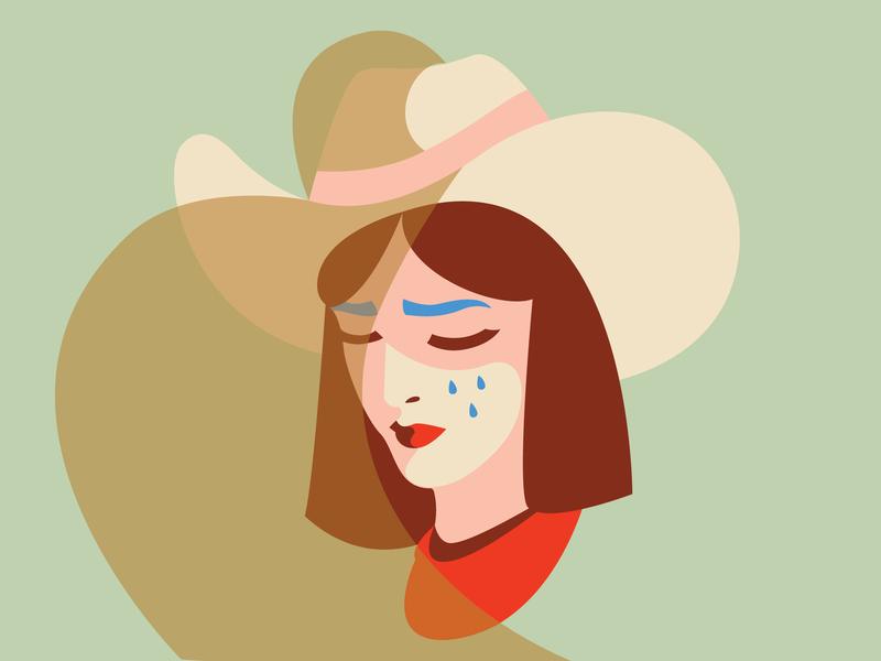Old Flames sketch prairie school honky tonk cowgirl illustration