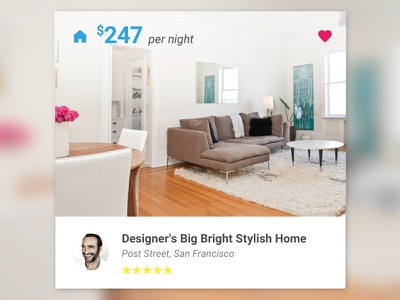 Airbnb Card airbnb card application mobile tablet ui ux material design presentation rent