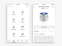 App navigation & Product page