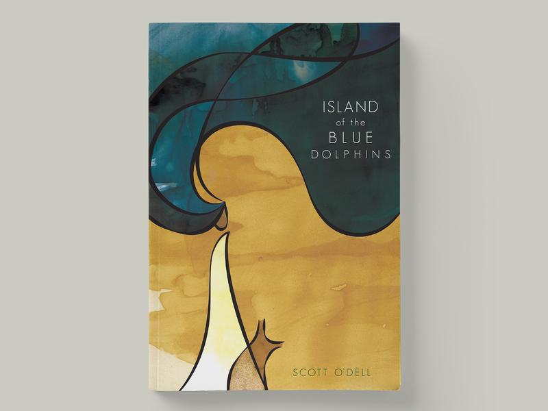Island of the Blue Dolphins novel book cover design graphic design illustration illustrator indesign photoshop texture line art