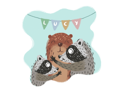 Lucy the otter flags wacom texture brush animals lucy raccoons raccoon otter illustration