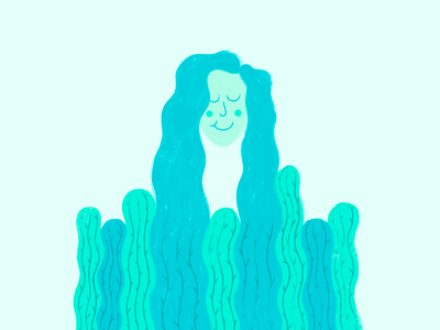Cactus hair girl desert wacom texture brush girl illustration cactus