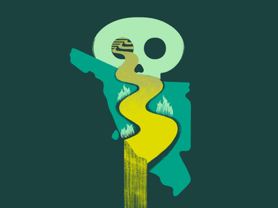 Río tóxico protest death logo méxico sonora toxic brush texture skull illustration