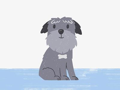 Soho the dog schnauzer dog wacom brush texture illustration