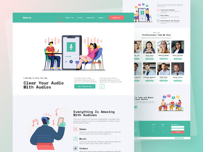 App Showcase - Audios templates elementor-pro elementor wordpress illustrates web website illustrate illustraor illustraiton flat ui design illustration