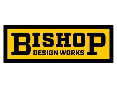 Bishop Design Works logo design branding typography solid chunky slabserif classic industrial logo