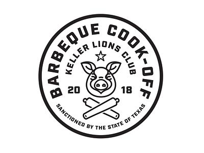 Keller Lions Club - BBQ Cook-Off lock-up seal illustration design logo