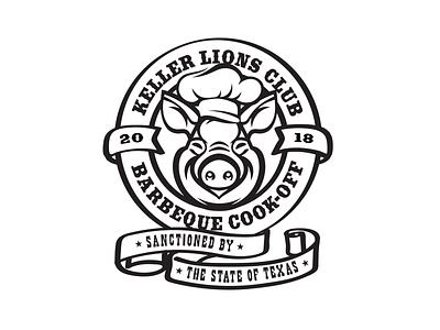 Keller Lions Club - BBQ Cook-Off western illustration logo design