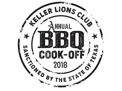 Keller Lions Club - BBQ Cook-Off seal distressed texture design logo