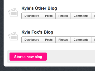 Multiblogs pink blogs fotojournal buttons